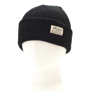 KNITCAP COTTON TAG CUFF BLACK