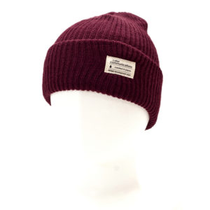 KNITCAP COTTON TAG CUFF BURGUNDY