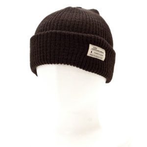 KNITCAP COTTON TAG CUFF BROWN