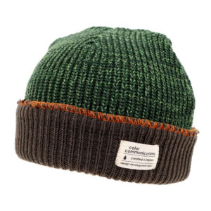 COLOR COMMUNICATIONS 2019 FW cotton tag 3 tpone knitcap olive