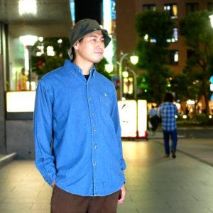 COLOR COMMUNICATIONS 2019 FW drip emb denim long sleeve shirt / Hiroki Muraoka / size : L