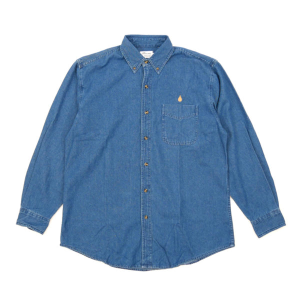 COLOR COMMUNICATIONS 2019 FW drip emb denim long sleeve shirt navy denim