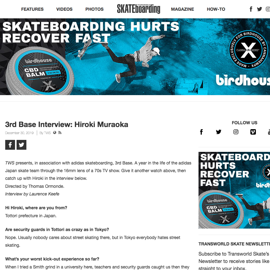 hiroki muraoka 3rd base interview transworld skateboarding