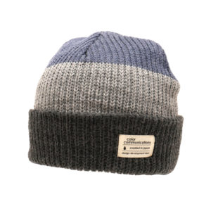 COLOR COMMUNICATIONS KNITCAP / COTTON TAG 3 TONE CUFF BLUE