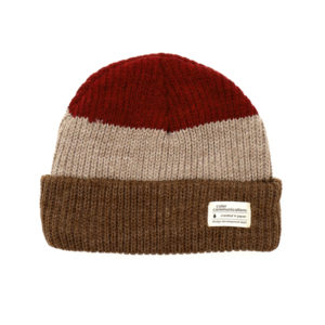 COLOR COMMUNICATIONS KNITCAP / COTTON TAG 3 TONE CUFF RED