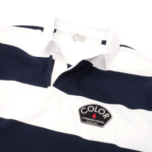 COLOR COMMUNICATIONS LONG SLEEVE / DESIGN DEPT. PATCH STRIPE RUGGER NAVY/WHITE